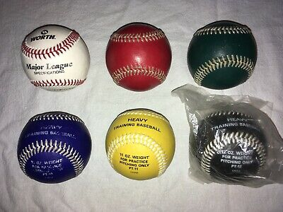Worth Baseball Pitchers Training Kit. 6 Various Weight Balls. Pitching System