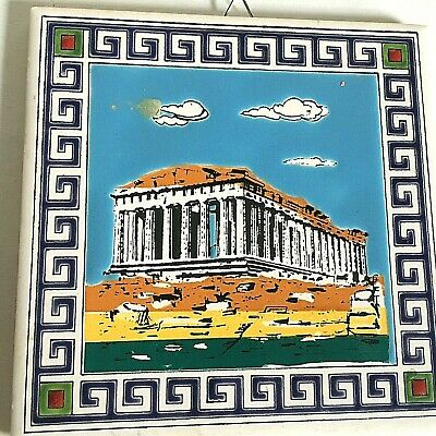 "Ceramic Hand Painted Tile Greek Ruins Art Greece Mythology 6"" Sq."