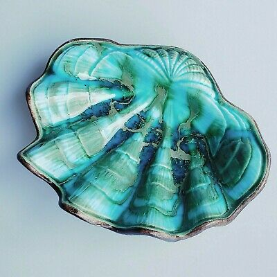 Treasure Craft of Los Angeles shell trinket or candy dish blue green swirl glaze