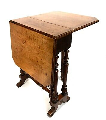 Antique Georgian Gateleg / Drop Leaf Mahogany & Elm Table / Country Home Design