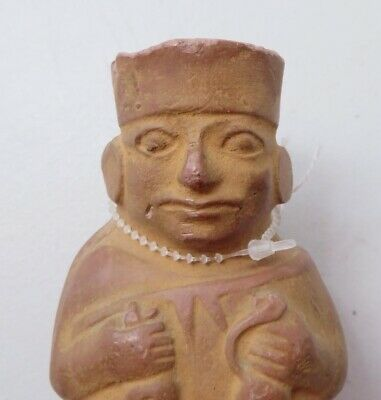 pre columbian reproduction repo mayan incense holder priest, h:4""