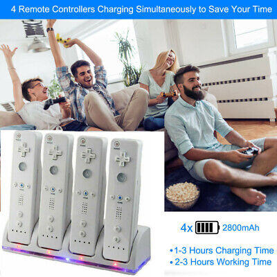 Remote Controller Charger Charging Dock +4 Rechargeable Battery for Nintendo Wii