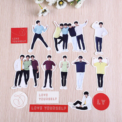 18Pcs BTS Love Yourself Adhesive Photo Sticker for Scrapbook Phone Stickers DIY