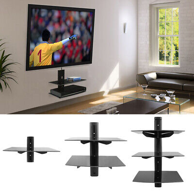 1-3 Tier Black Floating Shelf DVD Player Game Console Sky Box Media Glass Shelf