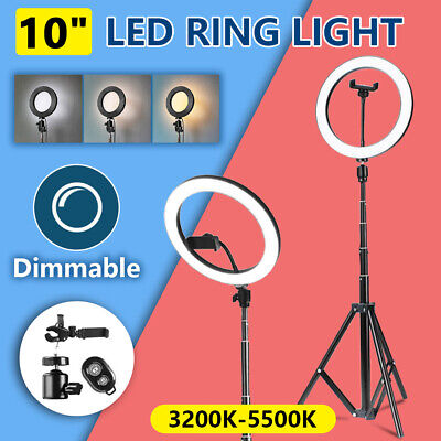 8inch Dimmable LED Ring Light + Stand Studio Selfie Phone Live Video Lighting