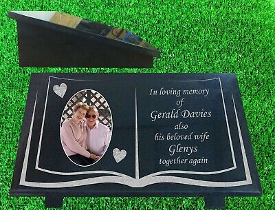 Personalised Granite Memorial Plaque Grave Marker with Picture