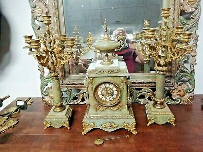 Superb French clock and bronze and marble candelabra