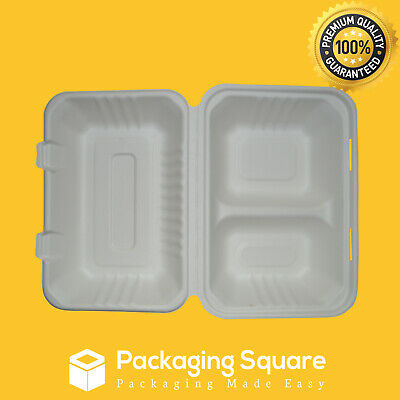 "125pcs x 9x6x3"" 2 Compartments Sugarcane Bagasse Takeaway Clamshell Eco Friendly"