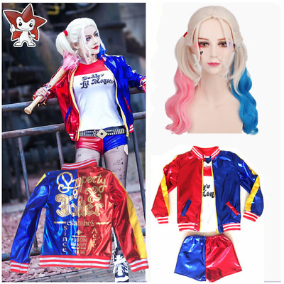 Girls Costume Set Suicide Squad Harley Quinn Kids Cosplay Fancy Dress 5PCS/Set