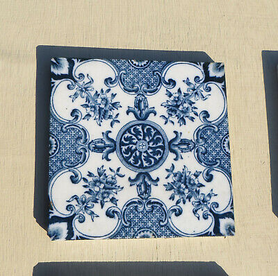Antique Blue & White Transfer Printed Floral Tiles, Henry Ollivant, 10 Available