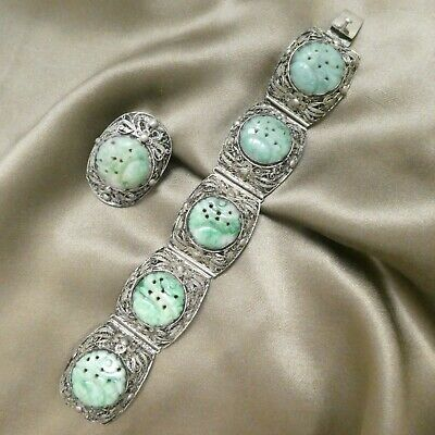 Antique Chinese Silver Filigree Carved Jade Bracelet Pin Set Signed TPY