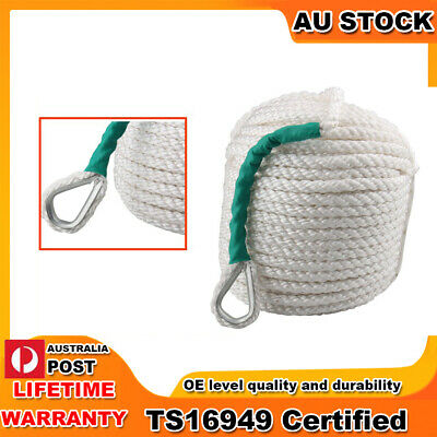 12mm*30m 3Strand Twisted Braid Nylon Anchor Rope for Docking Towing with Thimble