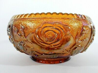 Superb Vintage Amber Carnival Glass Imperial Lustre Rose Bowl Dish Floral Retro