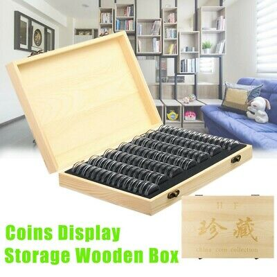 Wooden Coin Display Case Holder Storage Collection Box with 100 Capsules Gift