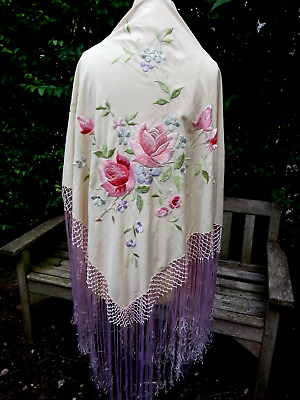 Vintage Antique Hand Embroidered Roses Pink Silk Piano Shawl