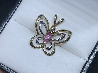 9ct Yellow Gold and White Gold Butterfly Diamond Pendant With Pink Sapphire