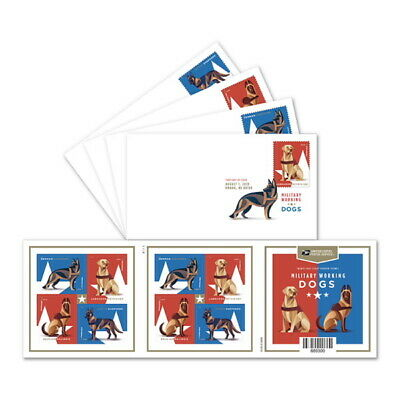 USPS New Military Working Dogs Keepsakes with Digital Color Postmark (Set of 4)