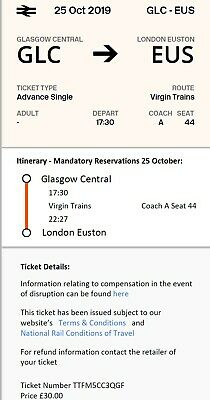 Unused Train Ticket - Glasgow to London. Friday 25th October- £30 (Face value)