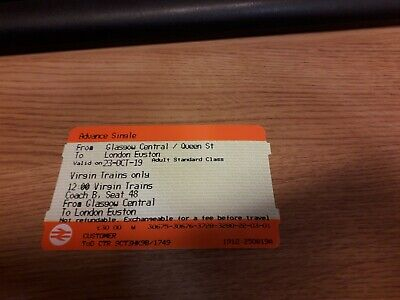 Unused Train Ticket - Glasgow to London- 23rd October- £30 (Face Value)
