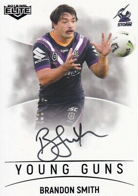 2019 Nrl Elite Young Guns Signature - Yg7 Brandon Smith Melbourne Storm #25 / 90