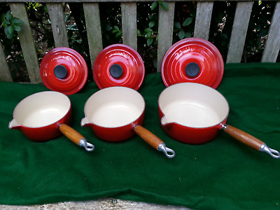 Le Creuset 3 Piece Saucepan Set 16, 18, 20cms With Lids Cerise Red Cast Iron.