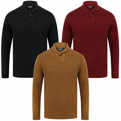 Kensington Eastside Men's Wool Mix Merrion Jumper Knitted Shawl Neck Sweater Top