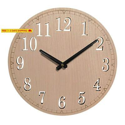 Giftgarden 12 Inch Silent Wall Clock Non Ticking Quartz Wood Clocks, Perfect Rou