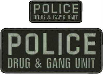 BRISTOW POLICE K9 UNIT EMBROIDERY PATCH 4X10 AND 2X5 HOOK ON BACK BLK//GRAY