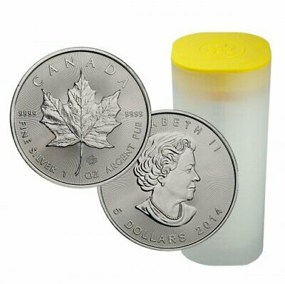 Lot of 10 X 1oz Silver Canadian Maple Leaf 2014 + Plastic Roll
