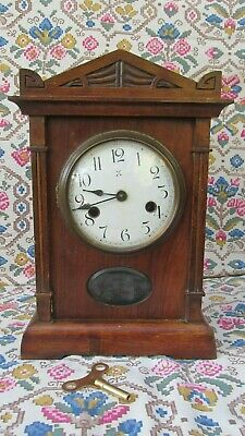 A Good Tidy Antique Mahogany Mantle Clock - 8 day 14 Day Strike German Movement