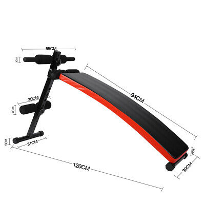 Sit Up Bench AB Abdominal Crunch Training Board Gym Dumbbell Train Ropes Holder