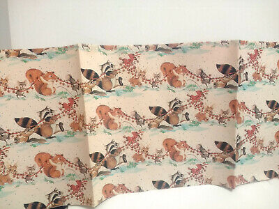 Vtg Christmas Wrapping Paper Gift Wrap Cute Animals Ringing Bells Snow 1 Sheet