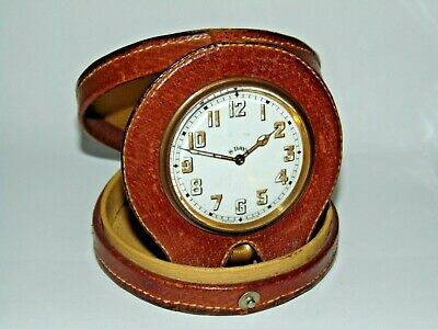 Good Size Working Vintage Leather Cased Swiss 8 Day Travel Clock Brevet 33236