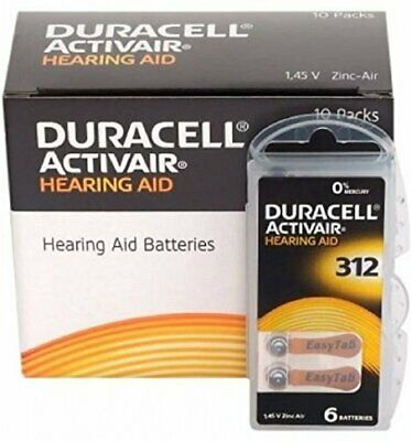 DURACELL HEARING AID BATTERIES Activair Type 312 Zinc Air P312 PR41 ZL3 60 Pack