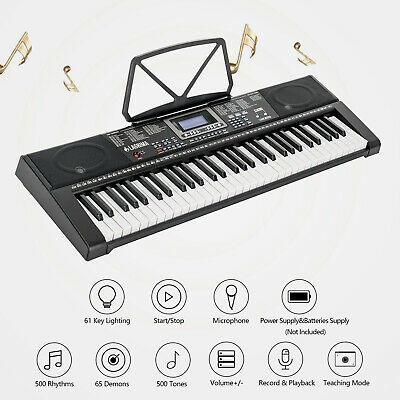 Dual Power 61 Key Light Up Electronic Keyboard Digital Music Piano w/ Microphone
