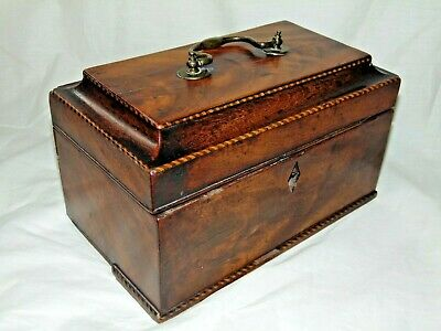 ANTIQUE 1800s GEORGIAN MAHOGANY & INLAID DESIGN TEA CADDY with BRASS HANDLE