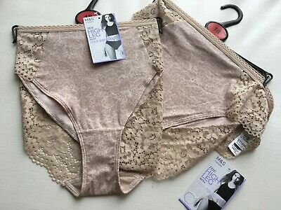 2 Pairs M&S High Leg Pants Briefs Knickers With Cool Comfort Sz 18 BNWT