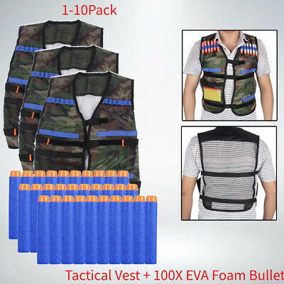 1-10Pack 1X Tactical Vest Jacket +100x Dart Bullet for Kids Gun Toy Gift