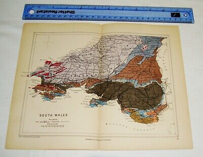 Reynolds - Geological Map from 1882 - 1889 - South Wales