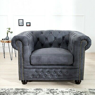 cagü: EDLER CHESTERFIELD SESSEL [WINCHESTER] GRAU CHAISELOUNGE