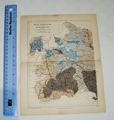 Reynolds - Geological Map from 1882 - 1889 - West Yorkshire and Lancashire