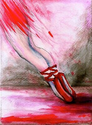 The Red Shoes-Red Pointe Shoes-ACEO Print-Original Art by SQ Streater
