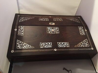 Decorative Antique Writing Slope With Mother Of Pearl Inlay Lockable With Key