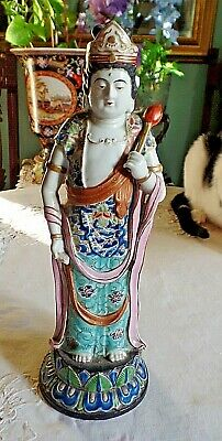Tall and Sublime Antique Japanese Porcelain Regal Lady Figure  12.4''