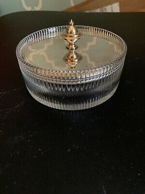 Crystal Etched Glass Candy Nut Jar Container  With Silver Plated Lid 1 Lb 4.7 In