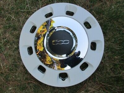 "1X Original Fiat 500 14"" Thearpy White and Chrome Wheel trim Cover Hub Cap"