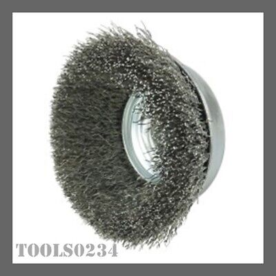"""Weiler 13188 3-1/2"""" Crimped Wire Cup Brush - .014"""" Stnls Steel - 5/8""""-11 UNC Nut"""