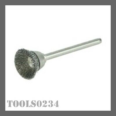 """Weiler 26076 5/8"""" Minature Wire Cup Brush - .005"""" Stnls Steel Fill - 1/8"""" Stem"""