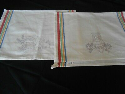 2 100% Cotton Dish Towels Stamped For Embroidery Owls on a Branch NEW
