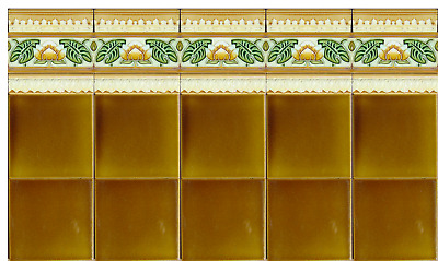 Antique Original Majolica 25 TILE Kitchen Backsplash Art Nouveau Bronze & green